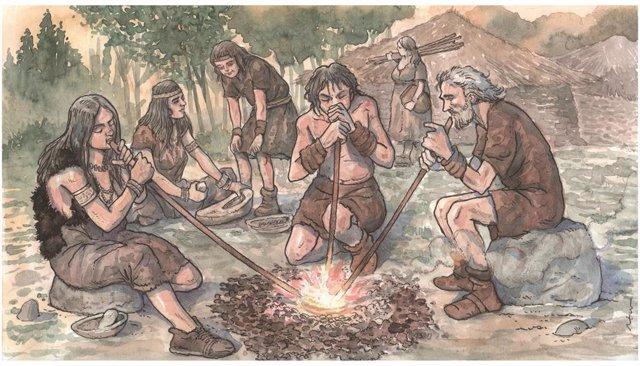 Ilustración de la recreación de la reducción del metal en las primeras etapas metalúrgicas