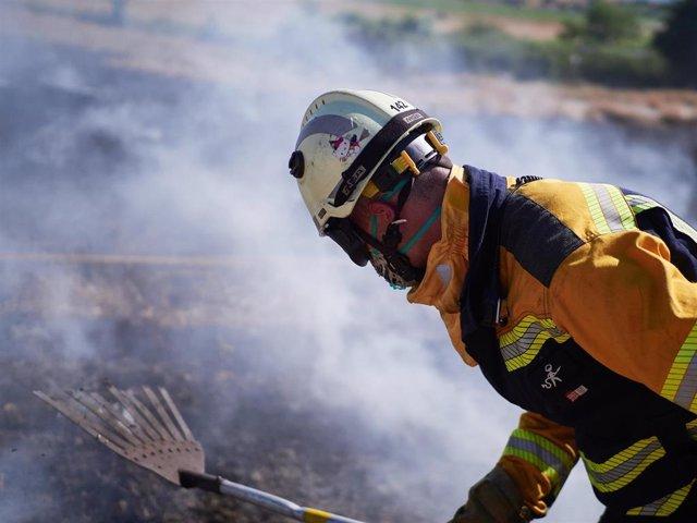 Un bombero realiza labores de extinción de un incendio forestal producido en una zona de campo de cereal, sin afectar a zonas urbanas, cerca de la localidad navarra de Sarriguren, a 21 de junio de 2020.