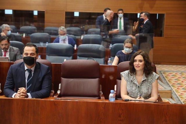 La presidenta de la Comunidad de Madrid, Isabel Díaz Ayuso y el vicepresidente de la Comunidad, Ignacio Aguado
