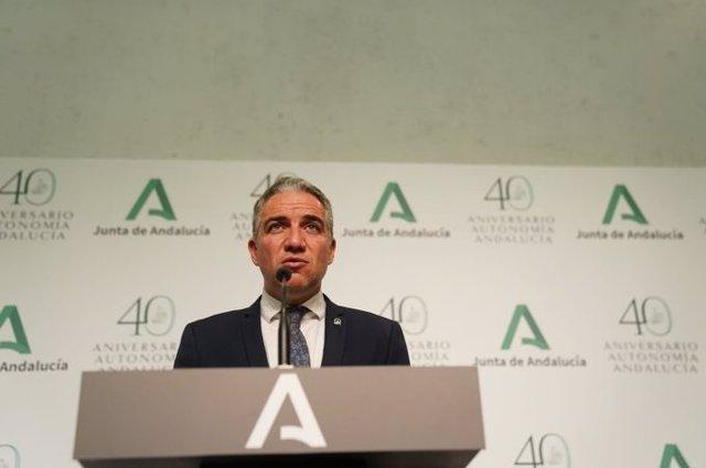 El consejero de la Presidencia, Administración Pública e Interior y portavoz del Gobierno, Elías Bendodo, en una imagen de archivo.