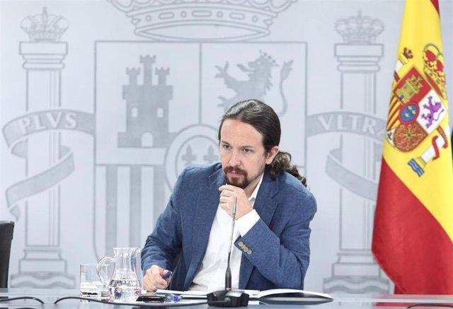 El vicepresidente y ministro de Derechos Sociales y Agenda 2030, Pablo Iglesias, durante su intervención en la rueda de prensa posterior al Consejo de Ministros en Moncloa, en Madrid (España), a 7 de julio de 2020.