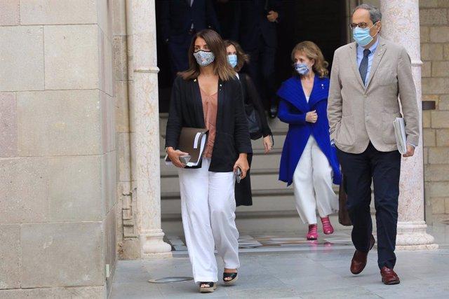 El president de la Generalitat, Quim torra, i la portaveu del Govern, Meritxell Budó