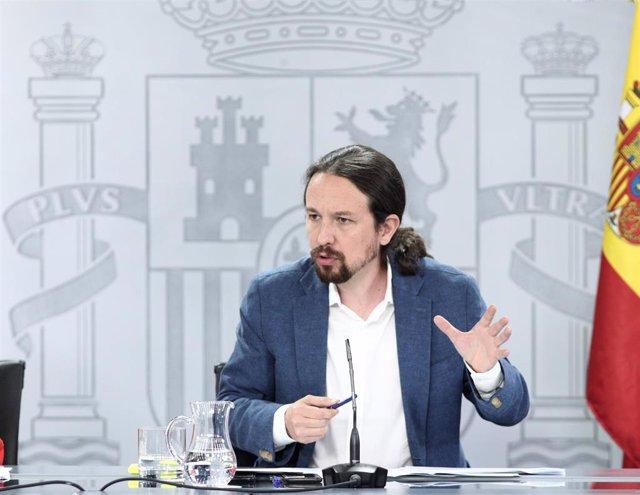 El vicepresidente y ministro de Derechos Sociales y Agenda 2030, Pablo Iglesias, durante la rueda de prensa posterior al Consejo de Ministros en Moncloa, en Madrid (España), a 7 de julio de 2020.