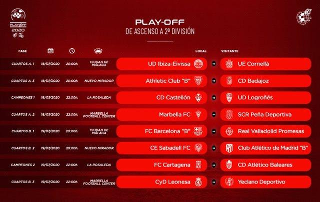 Fútbol.- Anunciados los horarios de los ocho primeros duelos de ascenso a Segund
