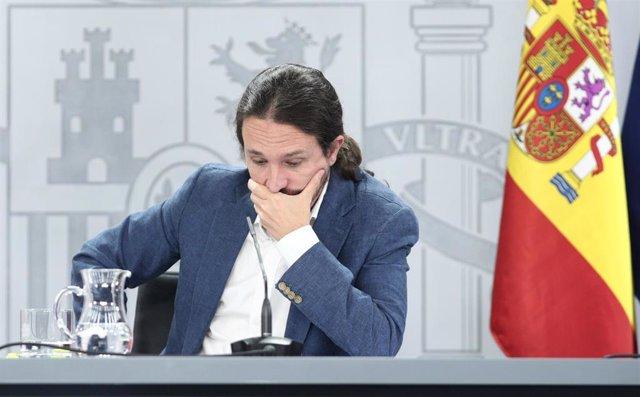 El vicepresidente del Gobierno y ministro de Derechos Sociales y Agenda 2030, Pablo Iglesias, en rueda de prensa en el Palacio de la Moncloa tras la reunión del Consejo de Ministros.