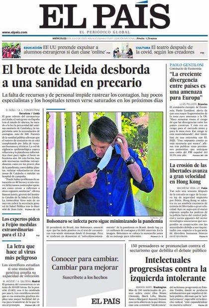 Las portadas de los periódicos del miércoles 8 de julio de 2020
