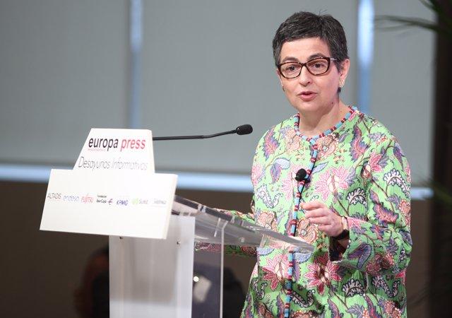 La ministra de Asuntos Exteriores, Unión Europea y Cooperación, Arancha González Laya, durante su intervención en los Desayunos Informativos de Europa Press, en Madrid, (España), a 8 de julio de 2020.