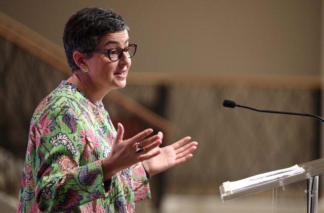 La ministra de Asuntos Exteriores, Unión Europea y Cooperación, Arancha González Laya, durante uno de los Desayunos Informativos de Europa Press, en Madrid, (España), a 8 de julio de 2020.