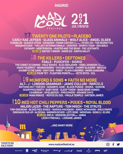 Mad Cool 2021: entran Red Hot Chili Peppers y se caen Taylor Swift, Billie Eilish y Kings of Leon