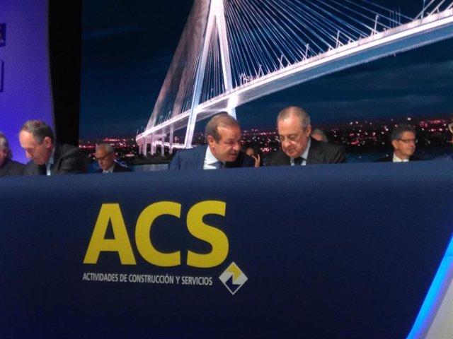 Florentino Pérez y Marcelino Fernández Verdes en la junta de ACS
