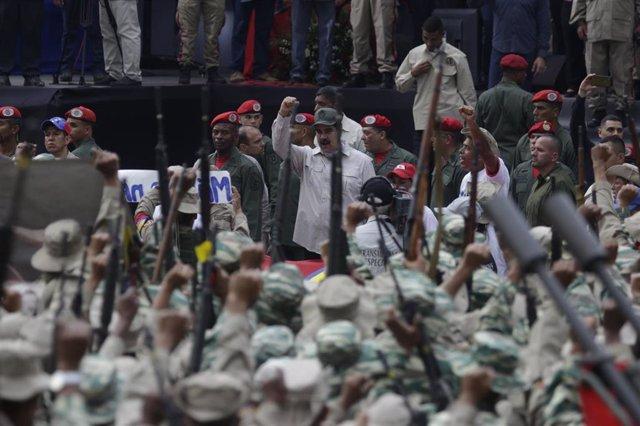 El presidente de Venezuela, Nicolás Maduro, celebra el día de la Milicia Bolivariana (Imagen de archivo)