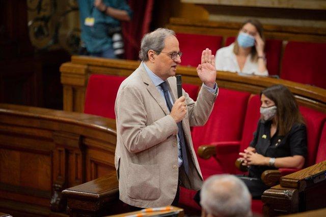 El president de la Generalitat, Quim Torra, intervé en el Parlament català durant la segona sessió plenària monogràfica sobre la gestió de les residències per a persones majors i per a persones amb discapacitat durant la pandèmia del COVID-19.