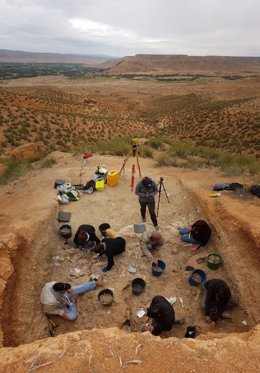 Excavació del jaciment de Guefaït- 4.2 al Marroc durant la campanya 2019.