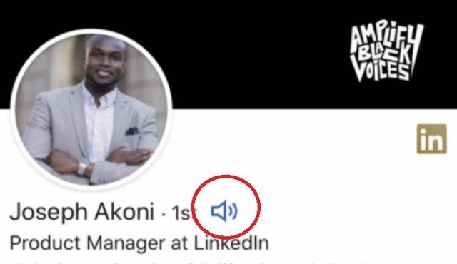 Audios en los nombres de LinkedIn.