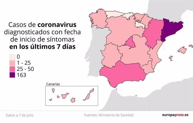 Mapa con casos de coronavirus diagnosticados con fecha de inicio de síntomas en los últimos siete días en España a 7 de julio.