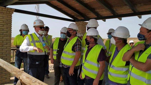Visita de una delegación de CCOO a la mina de Aznalcóllar (Sevilla).