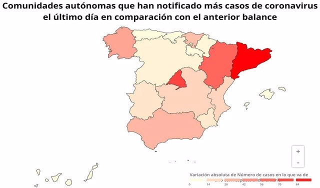 Notificación de casos de coronavirus por CCAA en comparación con el anterior balance