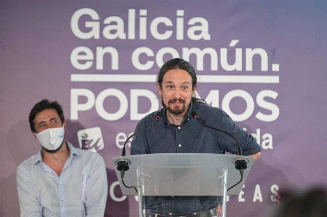 El secretario general de Podemos y vicepresidente segundo del Gobierno, Pablo Iglesias, durante su intervención en un acto de campaña en el Palexco de A Coruña, Galicia (España), a 8 de julio de 2020.