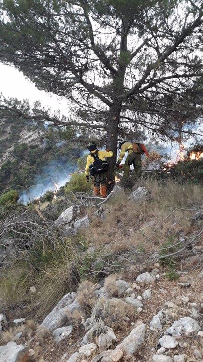 Los medios aéreos trabajan a contrarreloj contra el incendio de Quesada (Jaén), que avanza hacia Huesa