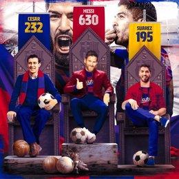 Montaje del FC Barcelona con sus tres máximos goleadores históricos; Leo Messi, César y Luis Suárez