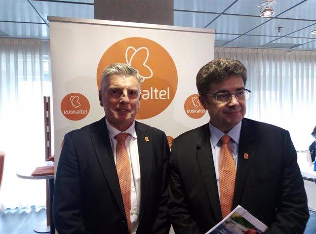 El presidente de Euskaltel; Xabier Iturbe, y el CEO, José Miguel García