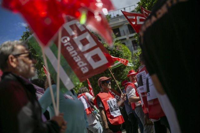 Protesta de funcionarios de CCOO -imagen de archivo-.