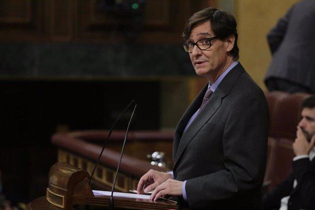 El Ministro de Sanidad, Salvador Illa, durante su intervención en una sesión plenaria en la que además se debate el Decreto Ley 21/2020, o decreto de la 'nueva normalidad', que rige en España desde el término del estado de alarma, en Madrid (España), a 25