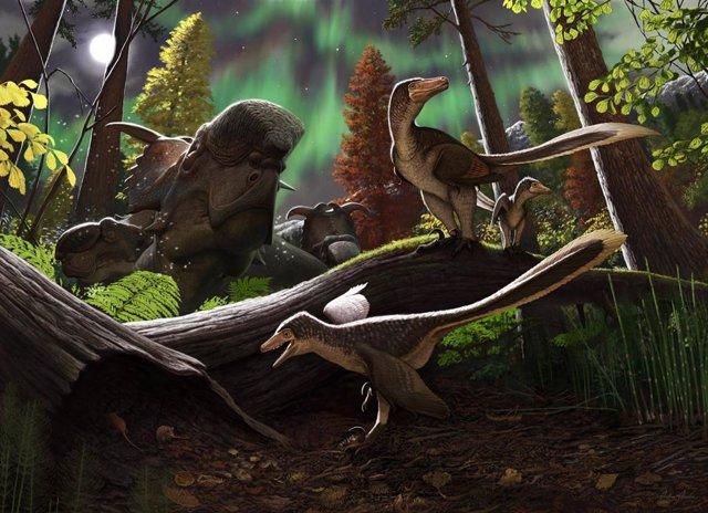 Reconstrucción del dinosaurio dromaeosaurio juvenil del Ártico