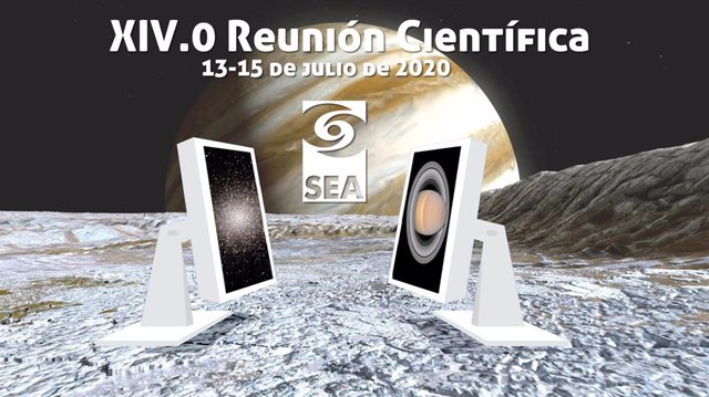 Cartel de la XIV.0 Reunión Científica de la Sociedad Española de Astronomía (SEA), que se celebrará del 13 al 15 de julio vía online