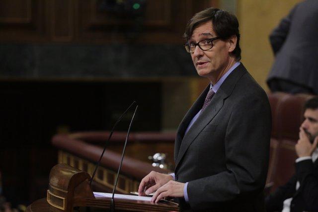 El Ministro de Sanidad, Salvador Illa, durante su intervención en una sesión plenaria, en Madrid (España), a 25 de junio de 2020.