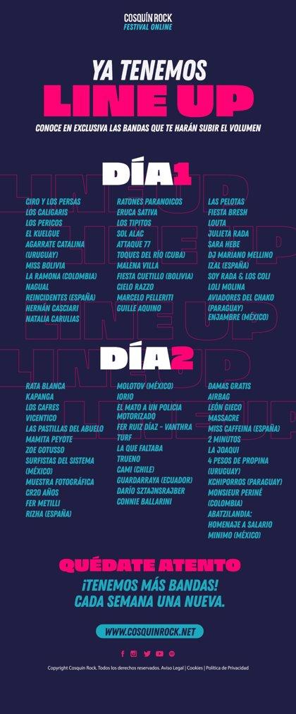 IZAL, Miss Caffeina, Reincidentes, Molotov, Vicentico, Rata Blanca y León Gieco, en Cosquín Rock Online