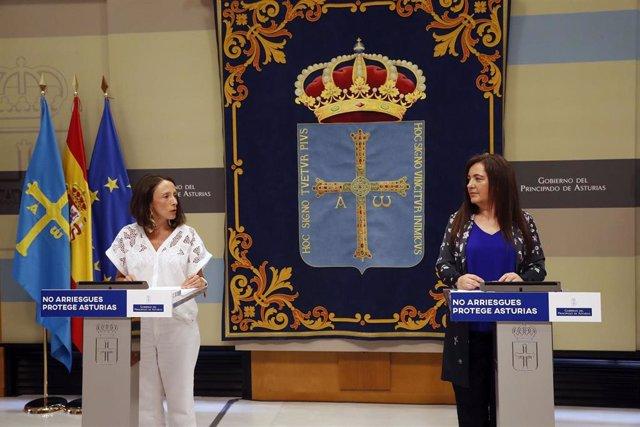 La consejera de Derechos Sociales, Melania Álvarez, y la directora general de Igualdad, Nuria Varela, en rueda de prensa.