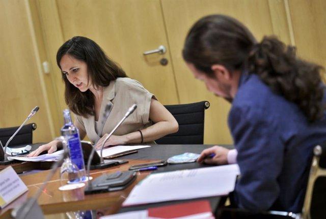 Pablo Iglesias e Ione Belarra en la reunión telemática de la Conferencia Sectorial para la Agenda 2030 con las CCAA, ciudades autónomas y municipios