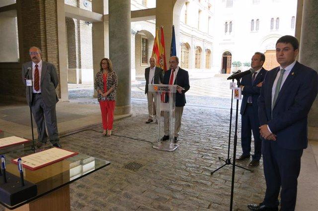 Las diputaciones provinciales de Zaragoza, Huesca y Teruel suscriben un protocolo con el Gobierno de Aragón para el impulso de la Estrategia Aragonesa para la Recuperación Social y Económica.