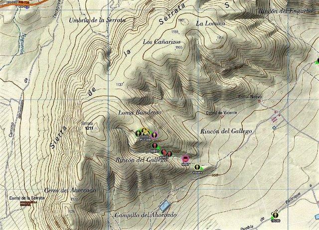 Localización en el mapa del lugar del incendio