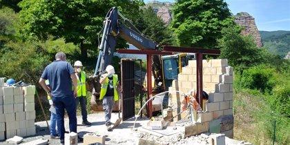 Finaliza la construcción de una nueva cámara de llaves junto al depósito de agua en Matute