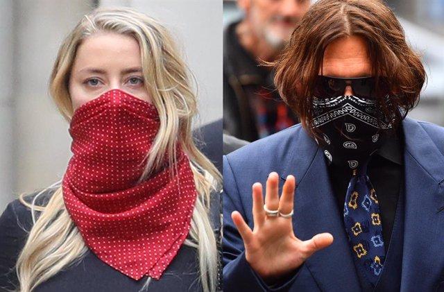 Johnny Depp y Amer Heard, en el juicio que se celebra en Londres