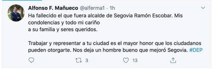 Mañueco lamenta el fallecimiento del ex alcalde de Segovia Ramón Escobar