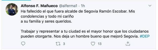 El presidente de la Junta de Castilla y León, Alfonso Fernández Mañueco, lamenta el fallecimiento del exalcalde de Segovia Ramón Escobar