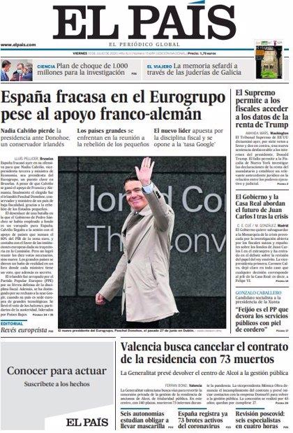 Las portadas de los periódicos del viernes 10 de julio de 2020