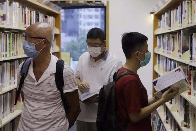 Una librería pública en Hong Kong.