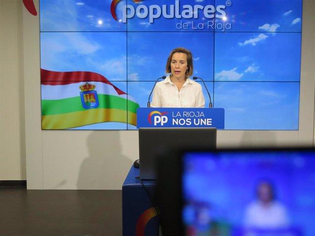 La vicesecretaria de Política Social del PP, Cuca Gamarra, en comparecencia de prensa, en una foto de archivo.