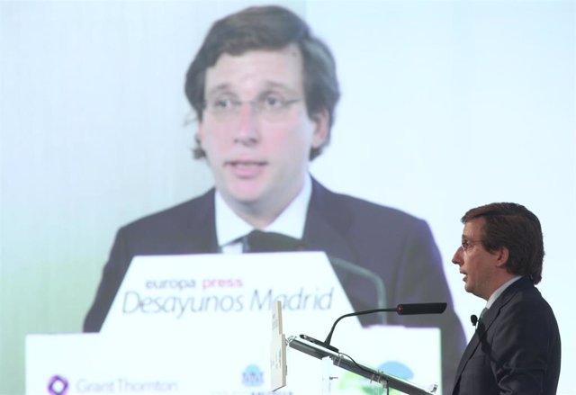 El alcalde de Madrid, José Luis Martínez-Almeida, interviene en la primera edición de los Desayunos Madrid