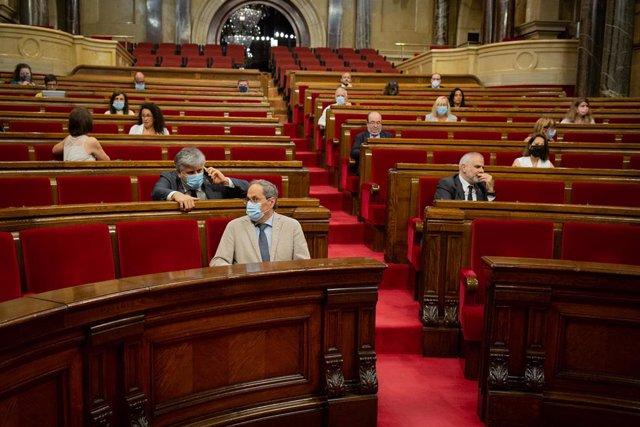 Ple al Parlament durant la segona sessió plenària monogràfica sobre la gestió de les residències durant la covid-19. Barcelona, Catalunya (Espanya), 8 de juliol del 2020.
