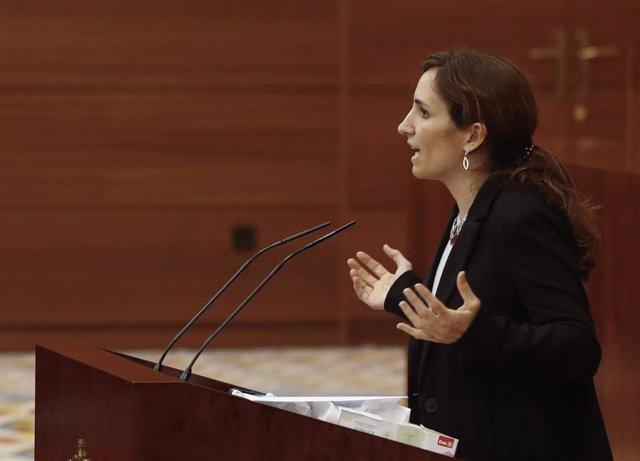 La diputada de Más Madrid Mónica García Gómez, durante una intervención en el pleno de la Asamblea de Madrid.
