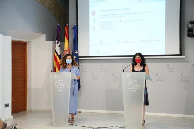 La portavoz del Govern, Pilar Costa, y la consellera de Modernización y Administraciones Públicas, Isabel Castro.