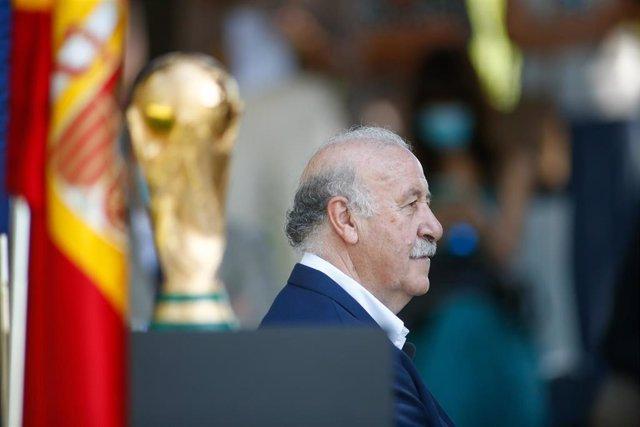 El ex seleccionador nacional de fútbol Vicente del Bosque en el acto de celebración en el CSD del X aniversario de la victoria de España en el Mundial de Sudáfrica