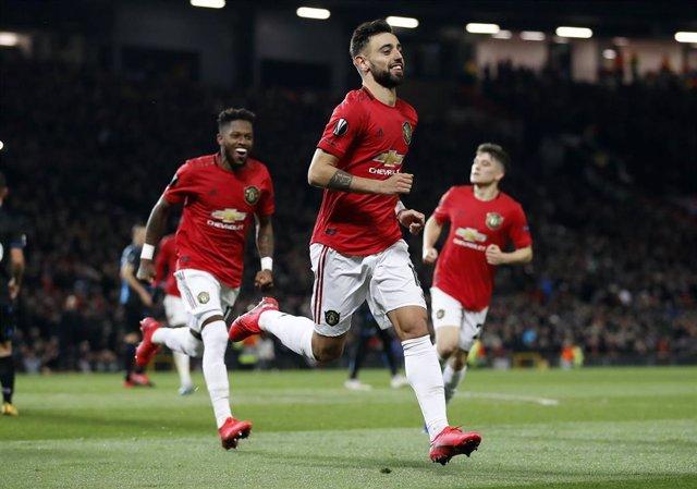 Bruno Fernandes celebra un gol con el Manchester United