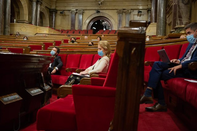 Diputats al Parlament durant la segona sessió plenària monogràfica sobre la gestió de les residències durant la pandèmia. Barcelona, Catalunya (Espanya), 8 de juliol del 2020.