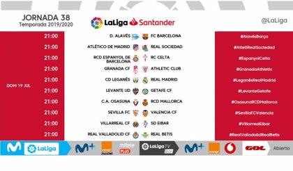 Las dos últimas jornadas de LaLiga se disputarán a las 21.00 horas